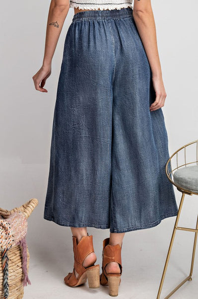 Washed Denim Wide Leg Pant