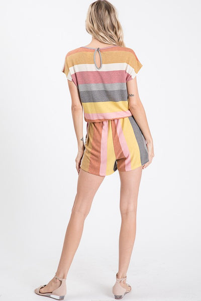 Marsala Stripe Short Sleeve Romper