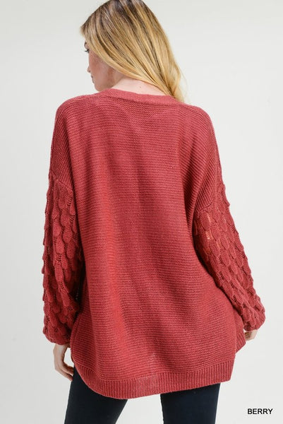 Strawberry Scallop Texture Puff Sleeve Pocket Cardigan