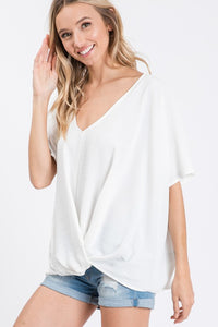 Oversized Twist Front Blouse in Off White