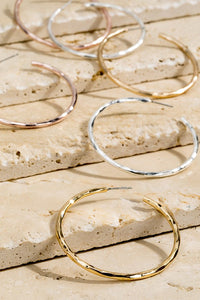 Essential Babe Hammered Metal Hoop Earrings- 2 Colors!