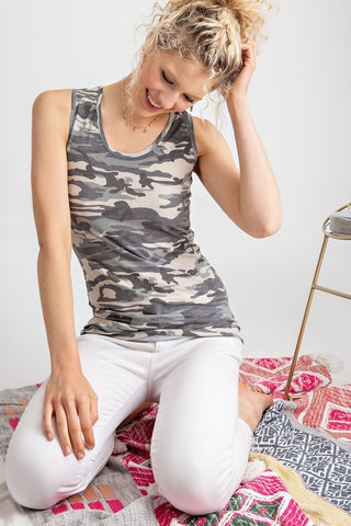 Essential Babe Camo Ribbed Tank