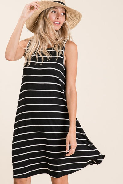 Simply Striped Knit Tank Dress- 2 Colors!