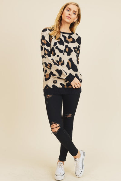 Larger Than Life Leopard Pullover Sweater Top