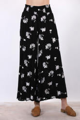Midnight Floral Palazzo Pant in Black