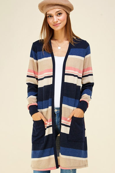 Winter Blues Striped Cardigan with Pockets