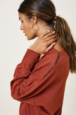 RESTOCKED!!! Turning Leaves Ribbed Zip Dolman Sweater