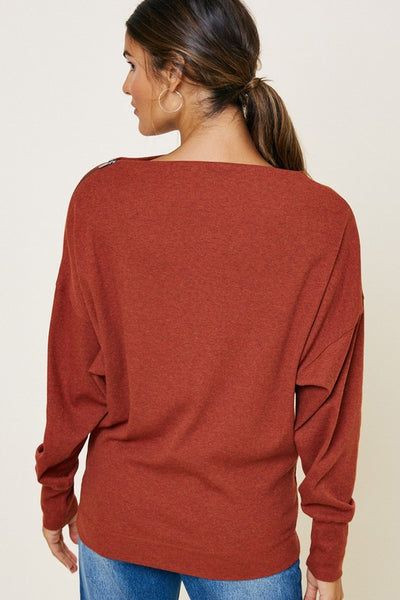 Turning Leaves Ribbed Zip Dolman Sweater