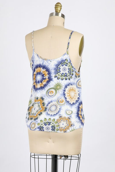 Better in Blue Swirl Tie-Front Cami Top