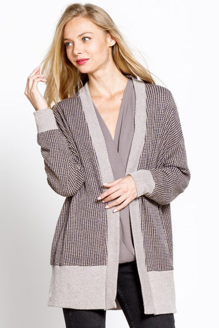 Lunch Date Two Tone Waffle Knit Cardigan