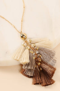Tassel Charm Necklace- Brown