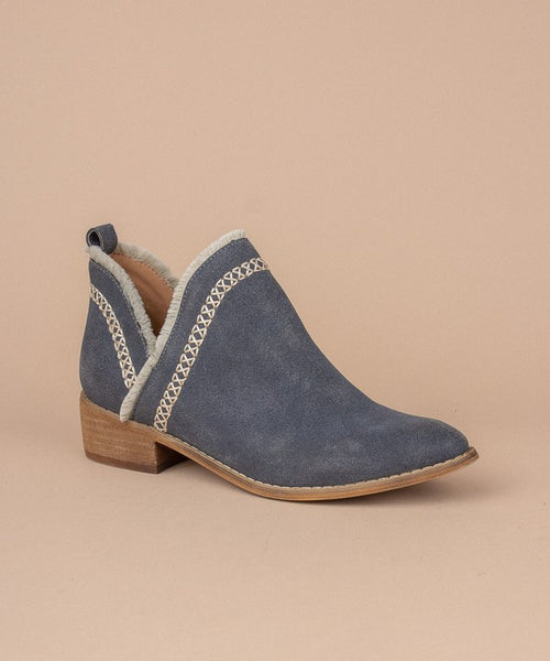 The Katie Fringe Navy Bootie