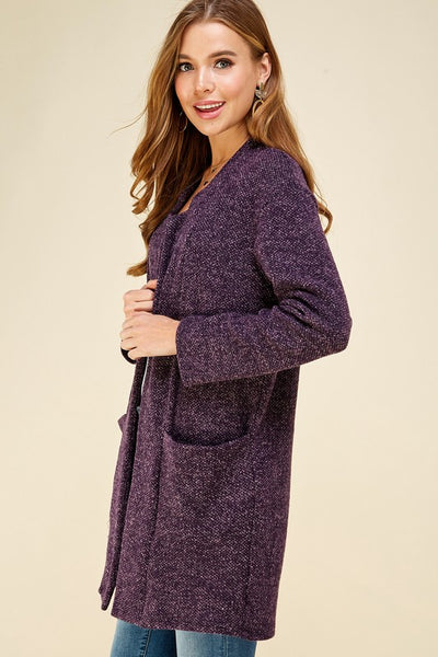 RESTOCKED!! Reigning Purple Open Front Sweater Jacket