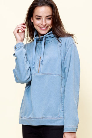 Casually High Style Chambray Zip Front Pullover
