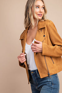 PRE-ORDER!! Copper Dreams Stretch Faux Suede Moto Jacket