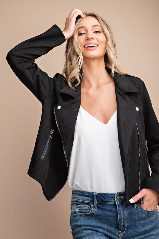 Black Night Stretch Faux Suede Moto Jacket