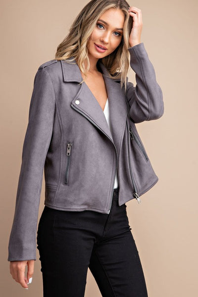 PRE-ORDER!! Steely Gray Stretch Faux Suede Moto Jacket