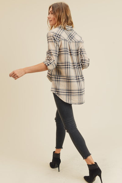 Perfectly Plaid Roll Tab Button Up Shirt in Beige