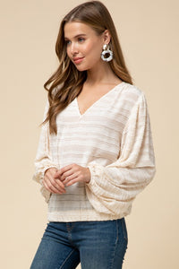 Textured Cream V Neck Blouse