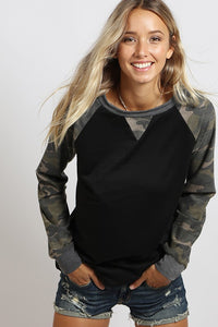 Raglan Sleeve Camo Top in Black