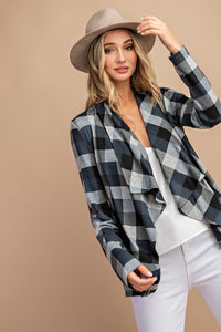 Elisa Open Front Gray Plaid Cardigan