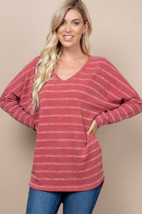 Mauve Striped Knit Dolman Tunic Top