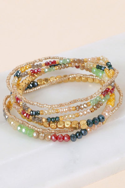 Going Places Glass Seed Beads Stretch Set Bracelet