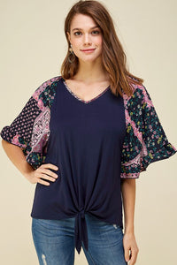 Indigo Sunset Printed Bell Sleeve Top
