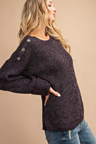 Confetti Crew Neck Sweater with Button Detail