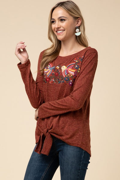 Give Thanks Embroidered Tie Front Top