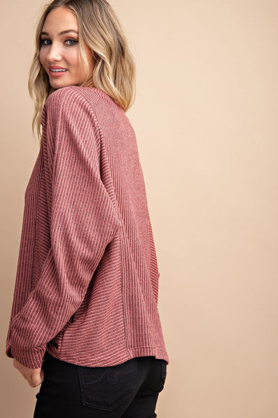 Ribbed Batwing Top in Mauve