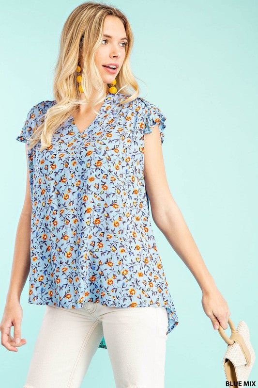 Serene Walks Floral Ruffle Tank- 2 Colors!
