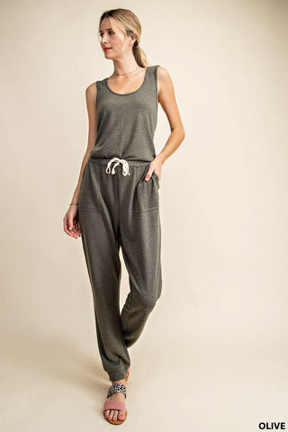 The Catechu Knit Crossback Olive Jumpsuit