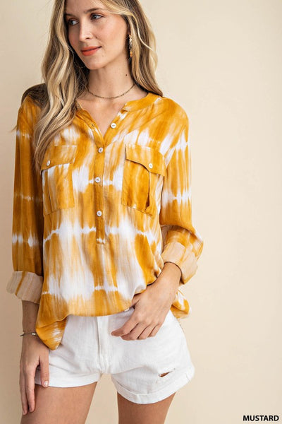 Warming Rays Watercolor Tie-Dye Top- Mustard