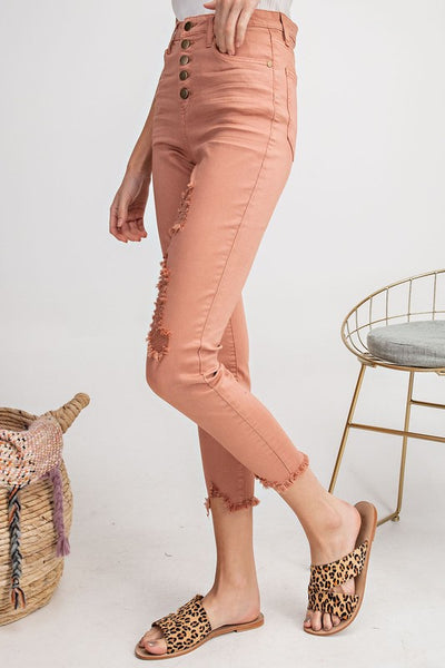 Terra Cotta Button Down Stretch Twill Crop Pant