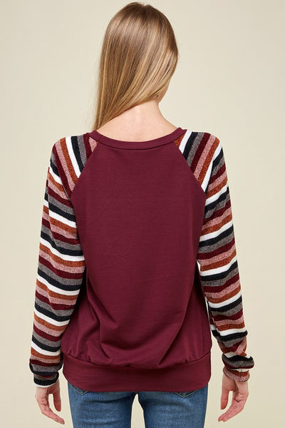 RESTOCKED!! The Mckenna Striped Sleeve Sweater in Burgundy