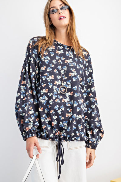 Floral Printed Bubble Sleeve Pullover