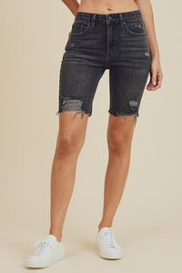 Distressed Black Bermuda Short