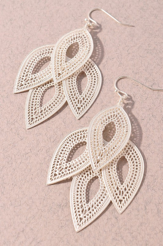 Quarter To Five Silver Leaf Dangle Hook Earrings