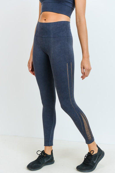 Mineral Wash Perforated Seamless Leggings