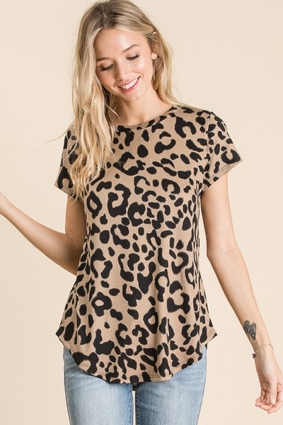 Make it Soft Animal Print Top in Taupe