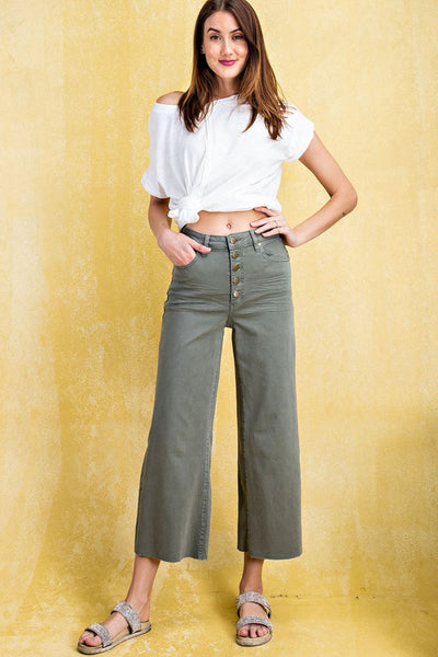 RESTOCKED!!! The Liv Wide Leg Twill Trouser in Olive