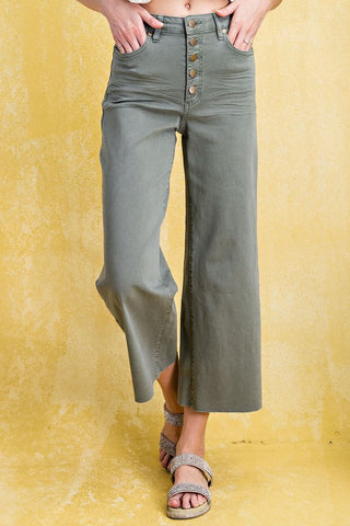 The Liv Wide Leg Twill Trouser in Olive
