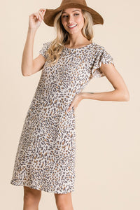 RESTOCKED!! Lena Leopard Print Ruffle Sleeve Knit Dress