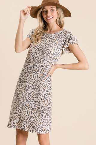 Lena Leopard Print Ruffle Sleeve Knit Dress