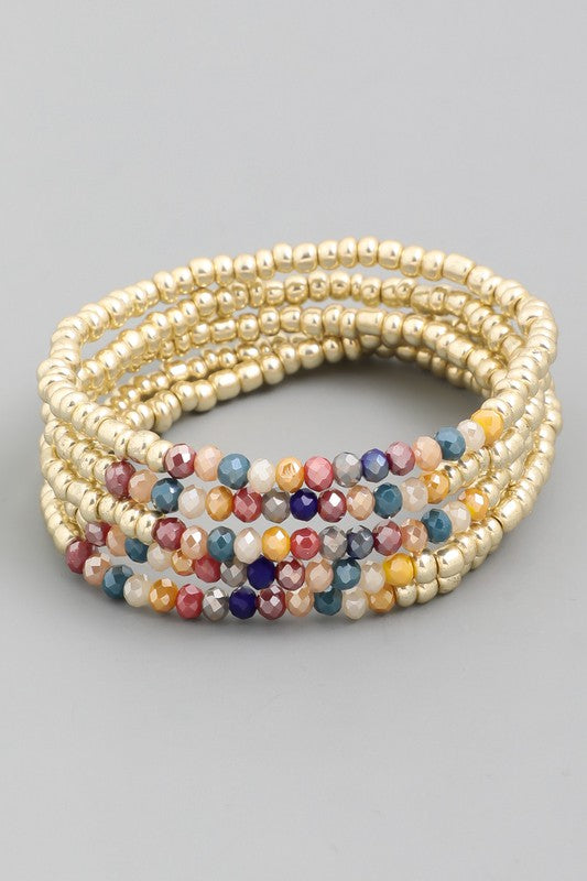 Multi Colored Gold Stretch Bracelets- Set of 5