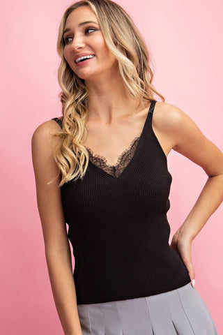 Essential Babe Lace Trim Knit Cami- 4 Colors!