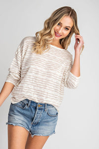 Oatmeal Striped Cross Back Sweater