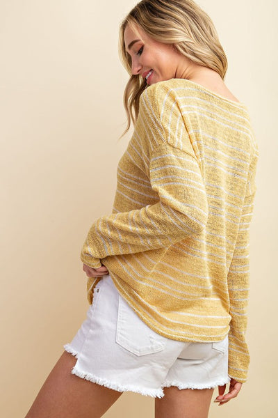 Essential Striped V-Neck Sweater-2 Colors!