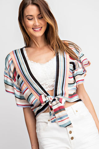 Flouncy Fun Striped Tie Front Top